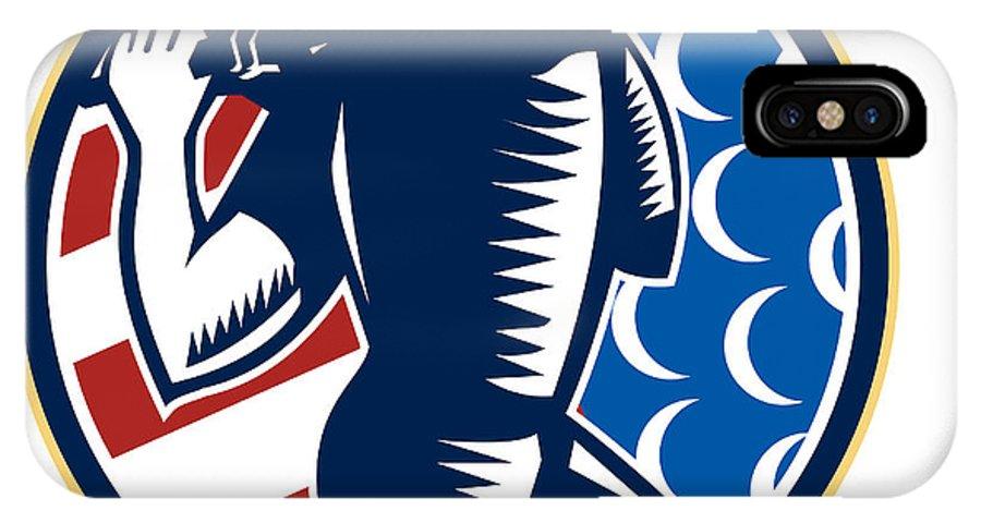 Golf IPhone X Case featuring the digital art American Golfer Tee Off Golf Retro by Aloysius Patrimonio