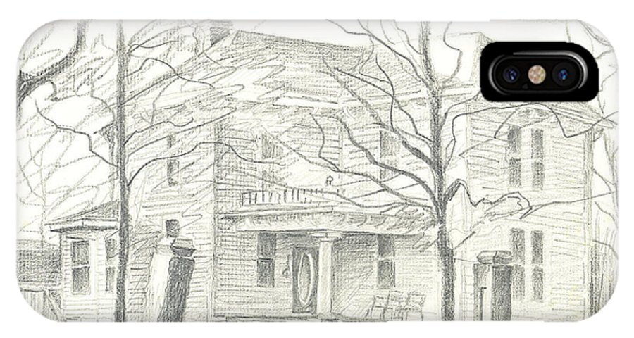 American Home Ii IPhone X Case featuring the drawing American Home II by Kip DeVore