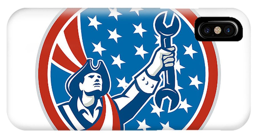 Patriot IPhone X / XS Case featuring the digital art American Patriot Holding Spanner Circle Retro by Aloysius Patrimonio