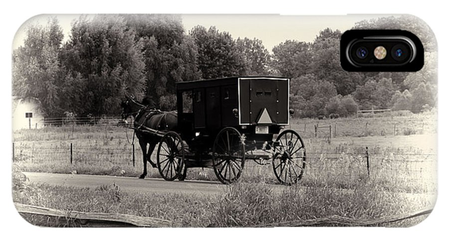 Horse IPhone X Case featuring the photograph Amish Buggy Sept 2013 by David Arment