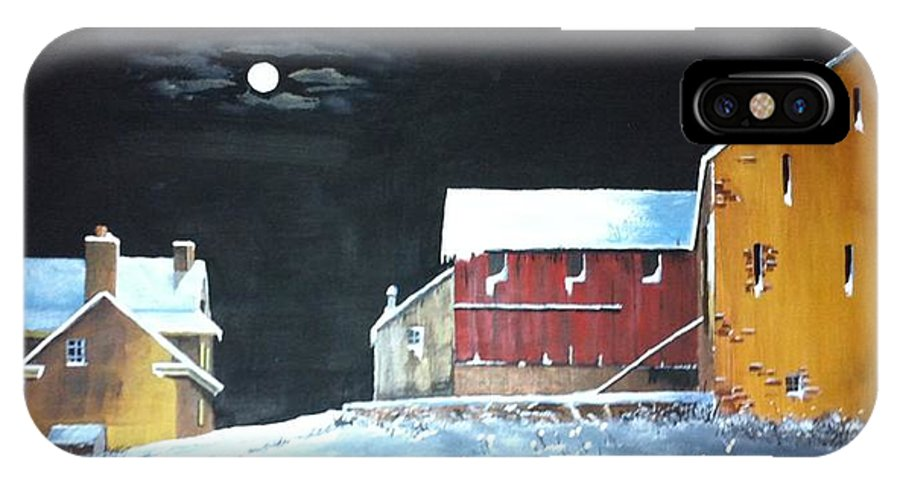 Amish IPhone X Case featuring the painting Amish Farm by Clifford Knoll