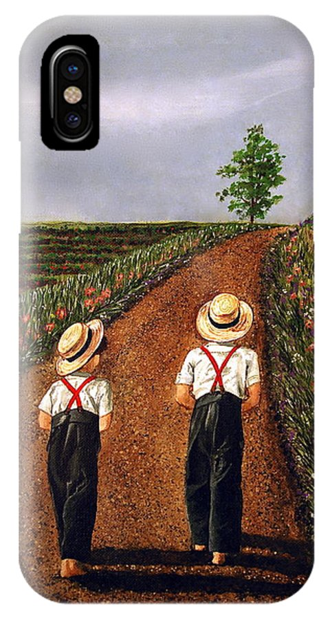 Lifestyle IPhone Case featuring the painting Amish Road by Linda Simon