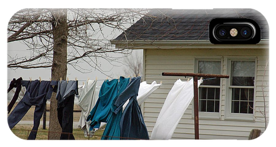 Clothesline IPhone X Case featuring the photograph Amish Washday - Allen County Indiana by Suzanne Gaff