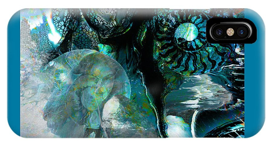 Ocean IPhone X Case featuring the digital art Ammonite Seascape by Lisa Yount