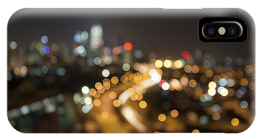 Ampang IPhone X Case featuring the photograph Ampang Kuala Lumpur City Skyline At Night Blurred Background by Jit Lim