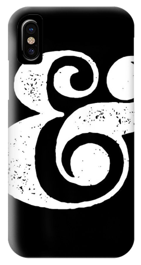 Ampersand IPhone X Case featuring the digital art Ampersand Poster Black by Naxart Studio
