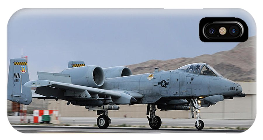 Nellis Air Force Base IPhone X Case featuring the photograph An A-10c Thunderbolt II Landing by Riccardo Niccoli