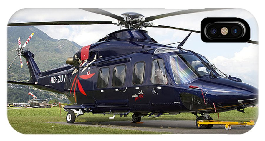 Switzerland IPhone X Case featuring the photograph An Agustawestland Aw139 Utility by Luca Nicolotti