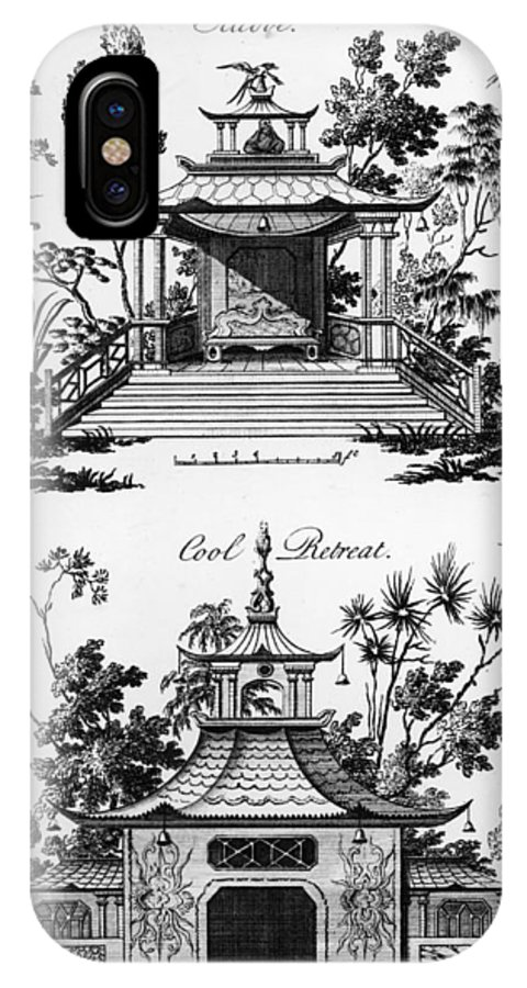Garden Pavilion; Pagoda; Shelter; Arbour; Folly; Decorative; Chinois; Chinoiserie IPhone X Case featuring the drawing An Alcove And A Cool Retreat by Paul Decker