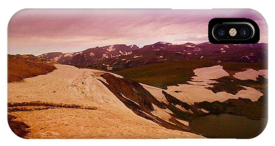 Mountains. Snowdrifts IPhone X Case featuring the photograph An Alpine Lake Near The Top Of Beartooth Pass by Jeff Swan