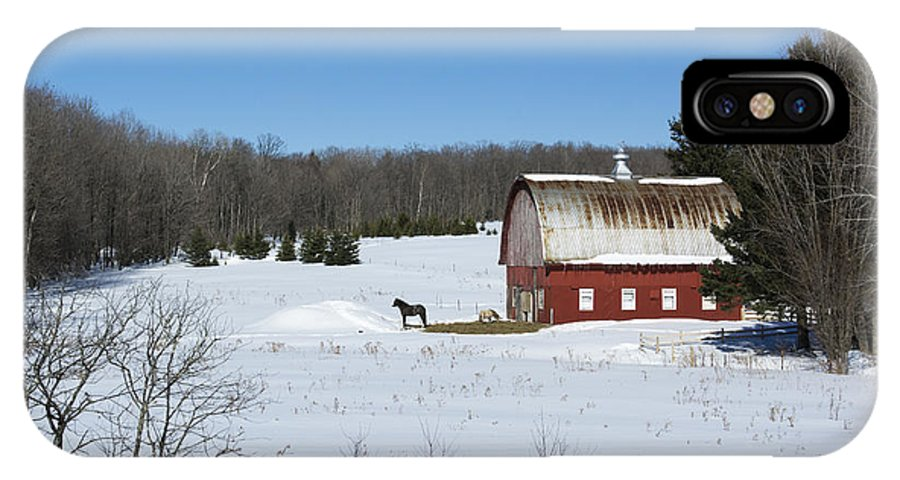 Americana IPhone X Case featuring the photograph an American Frozen Pasture by Dan Hefle
