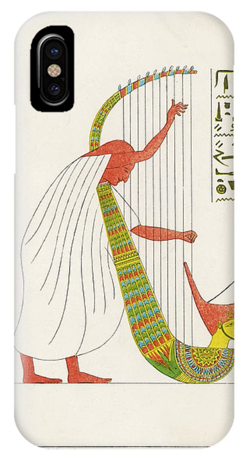 Egyptian IPhone X Case featuring the drawing An Ancient Egyptian Priest Plays An by Mary Evans Picture Library