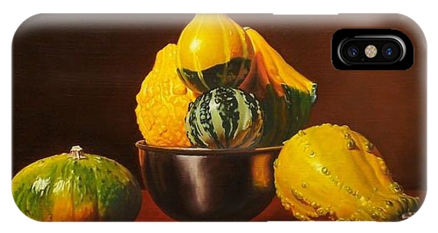 Still Life IPhone X Case featuring the painting An Arrangement Of Gourds by Gary Hernandez