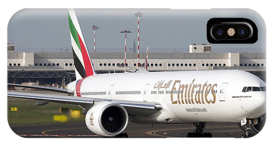 No People IPhone X Case featuring the photograph An Emirates Boeing 777 At Milano by Luca Nicolotti