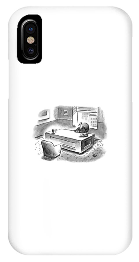 Executive IPhone X Case featuring the drawing An Executive Sits At His Desk And An Employee's by Frank Cotham