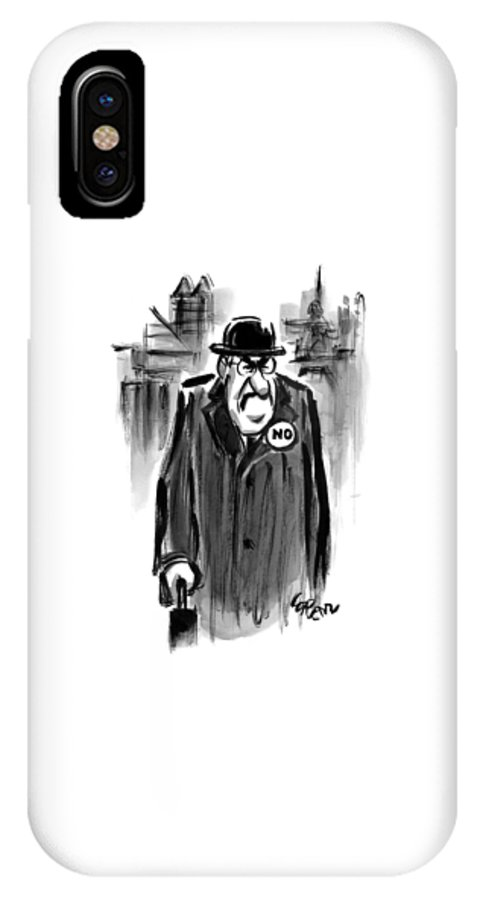 Captionless. No IPhone X Case featuring the drawing An Executive Wears A Pin That Says No by Lee Lorenz