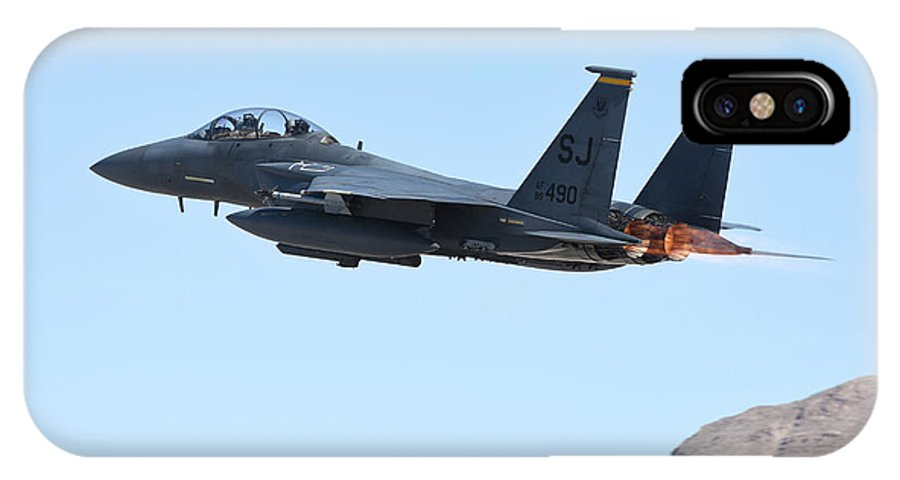 Nevada IPhone X Case featuring the photograph An F-15e Strike Eagle Taking by Riccardo Niccoli