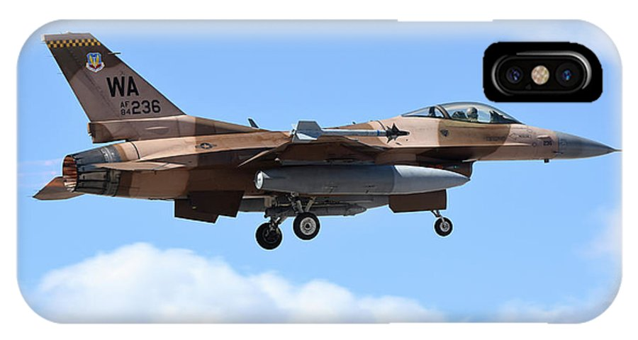 Nevada IPhone X Case featuring the photograph An F-16c Fighting Falcon From 64th by Riccardo Niccoli