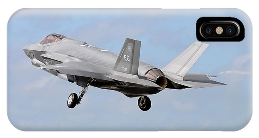 Florida IPhone X Case featuring the photograph An F-35a Taking Off From Eglin Air by Riccardo Niccoli
