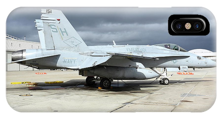 Marine Corps Air Station Miramar IPhone X Case featuring the photograph An Fa-18c Hornet On The Ramp At Marine by Riccardo Niccoli