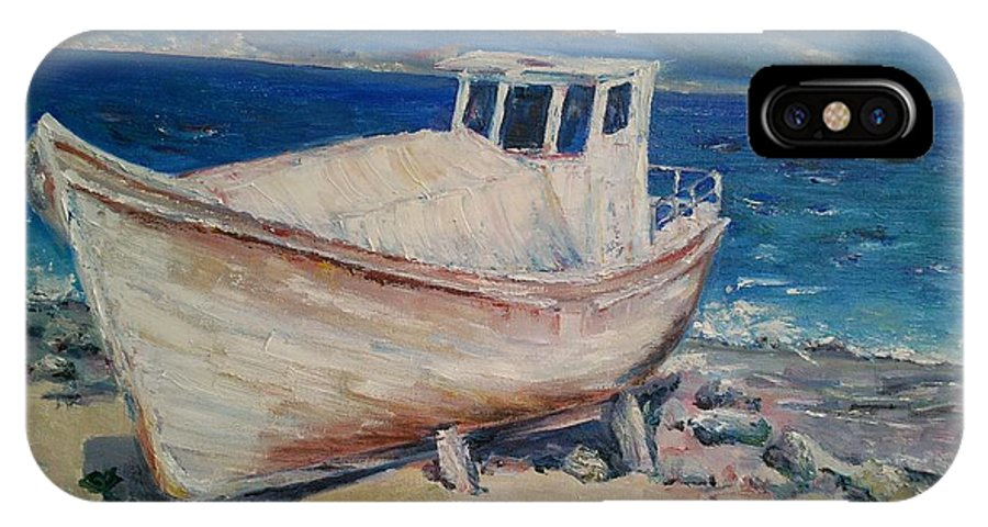 Landscape IPhone X Case featuring the painting An Old Boat by Darya Kanibolotska