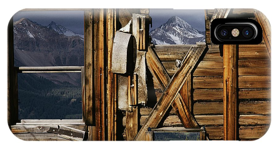 Wood IPhone X / XS Case featuring the photograph An Old Miners Shack With A View by Gordon Wiltsie