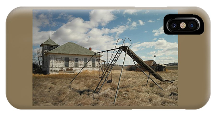 Schools IPhone X Case featuring the photograph An Old School Near Miles City Montana by Jeff Swan