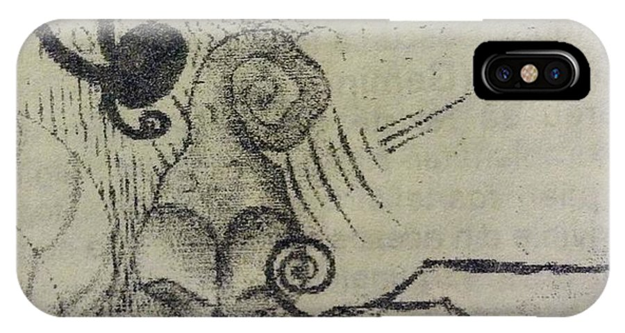 Weird Creatures Asociated In A Composition IPhone X Case featuring the drawing Anaerobic Creatures by Georgescu George