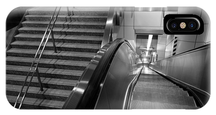Escalator IPhone X Case featuring the photograph Analog And Digital by Lauren Rathvon