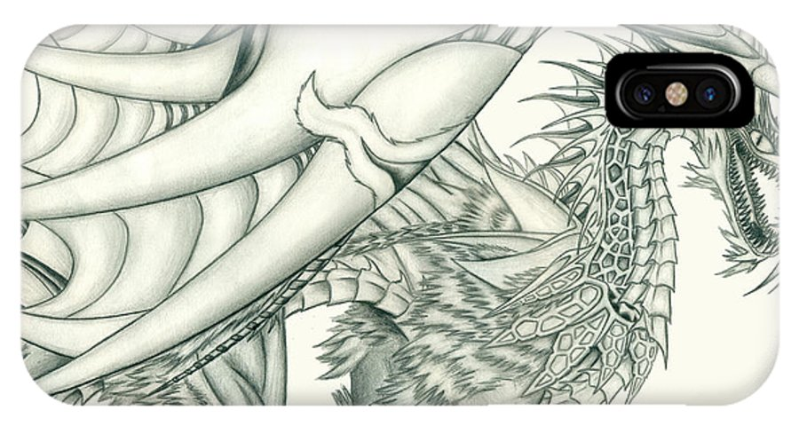 Pencil Work IPhone X Case featuring the drawing Anare'il The Chaos Dragon by Shawn Dall