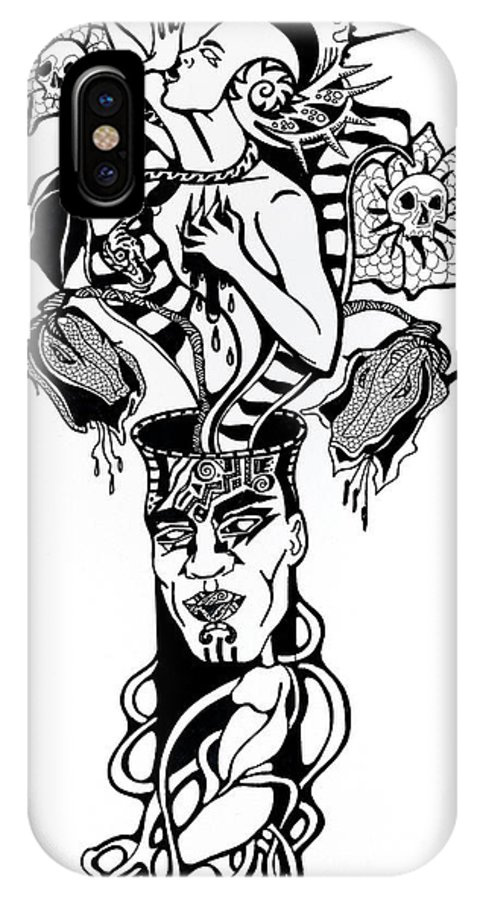 B&w IPhone X Case featuring the drawing Anatomy Of Bouquet by Yelena Tylkina