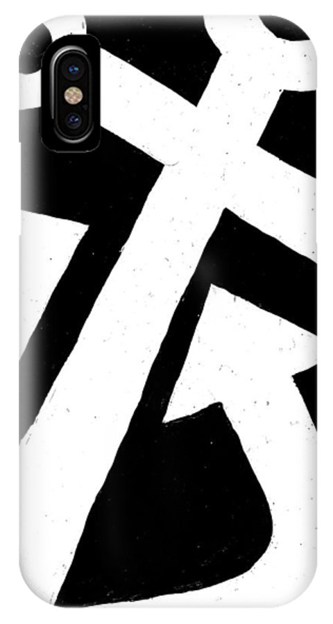Anchor IPhone X Case featuring the painting Anchor-black by Catherine Peters