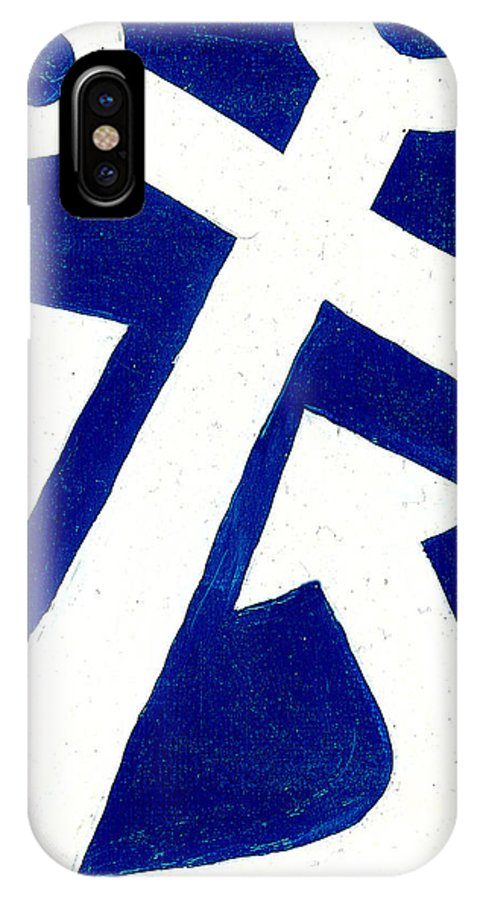 Anchor IPhone X Case featuring the painting Anchor- Dark Blue by Catherine Peters