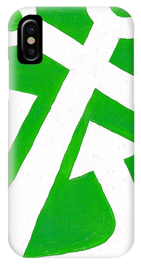 Anchor IPhone X Case featuring the painting Anchor- Green by Catherine Peters
