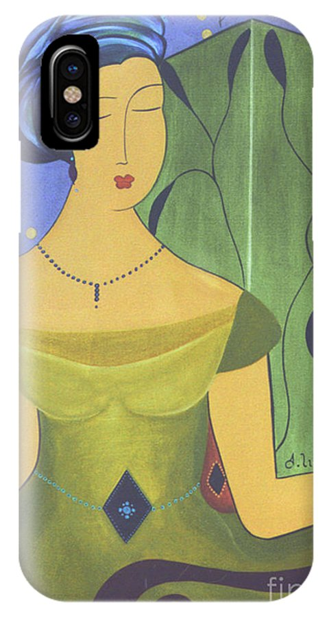 #female IPhone X Case featuring the painting Ancient Beauty by Jacquelinemari