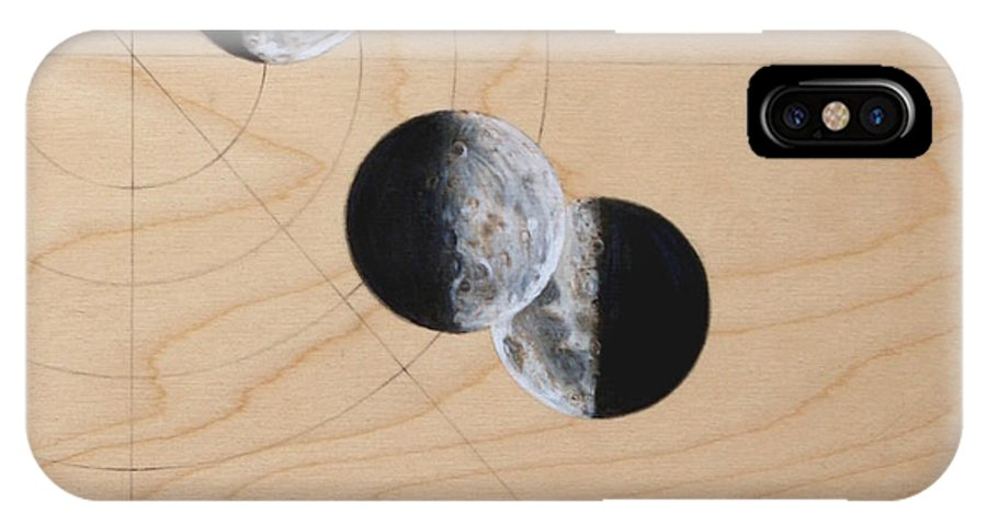 Moon IPhone X Case featuring the drawing Ancient Circles by Stacey Sherman