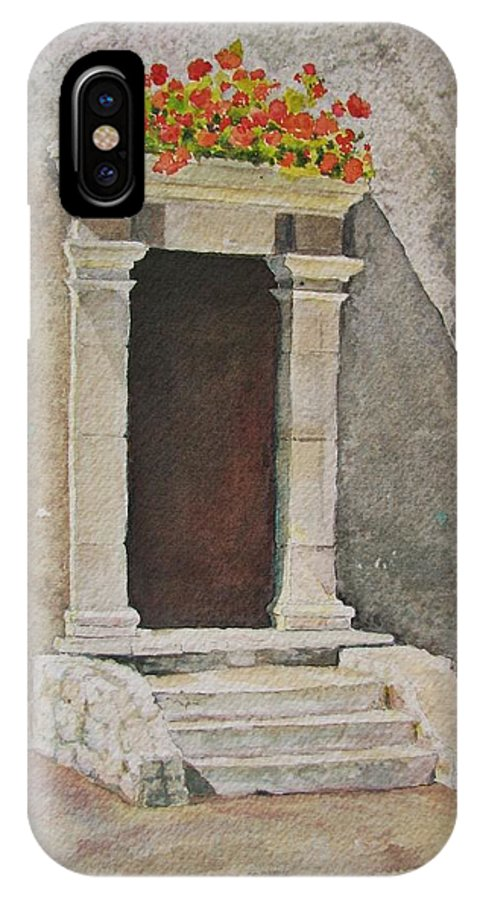 Antique Doorway IPhone X Case featuring the painting Ancient Doorway by Mary Ellen Mueller Legault