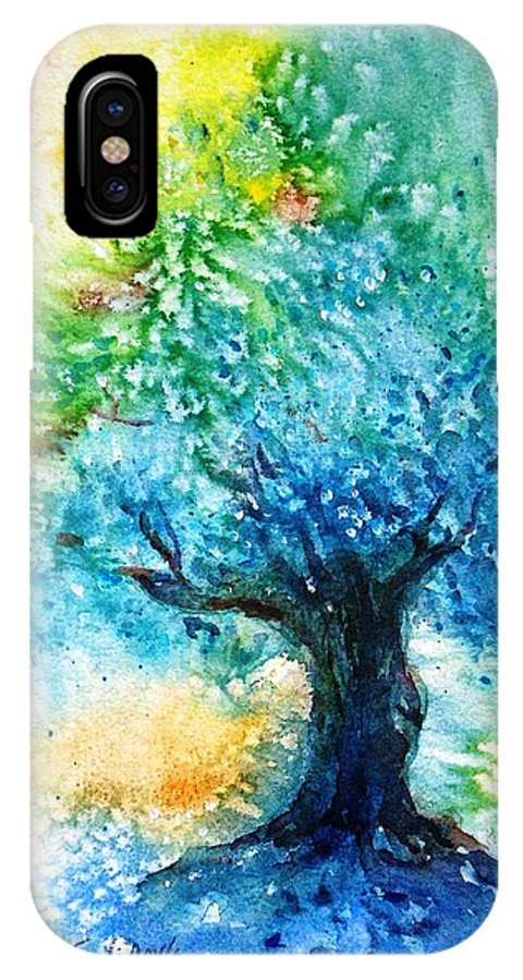 Ancient Olive IPhone X Case featuring the painting Ancient Olive Tree Athenas Gift by Trudi Doyle