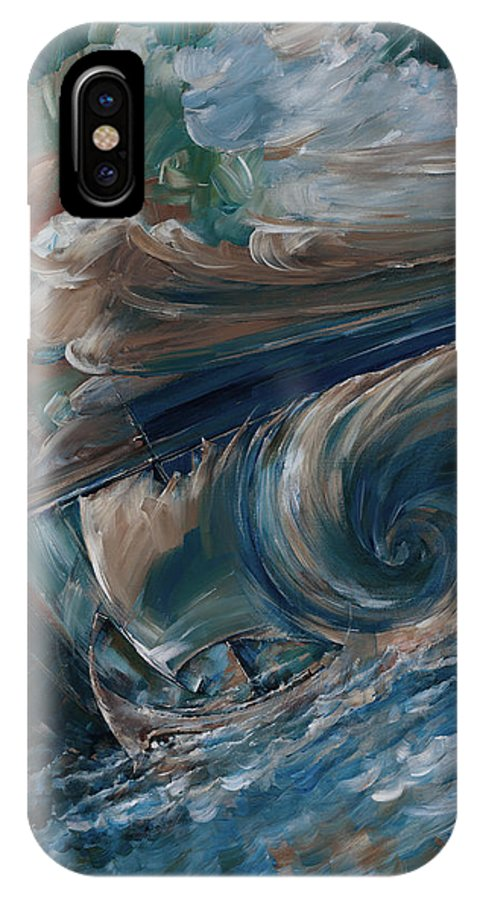 Ocean IPhone X Case featuring the painting Ancient Storm by Igor Khalandovskiy
