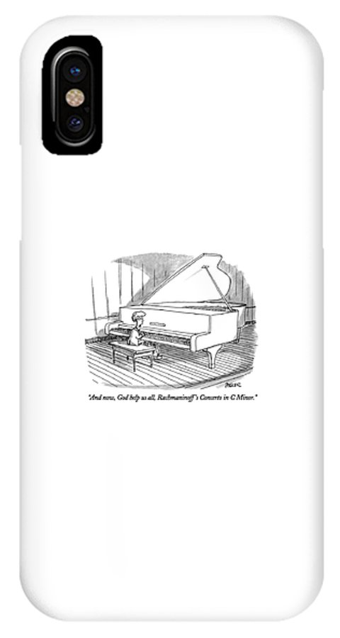 Child To Audience As He Sits Down At Grand Piano To Begin Concert. Children IPhone X Case featuring the drawing And Now, God Help Us All, Rachmaninoff's Concerto by Jack Ziegler