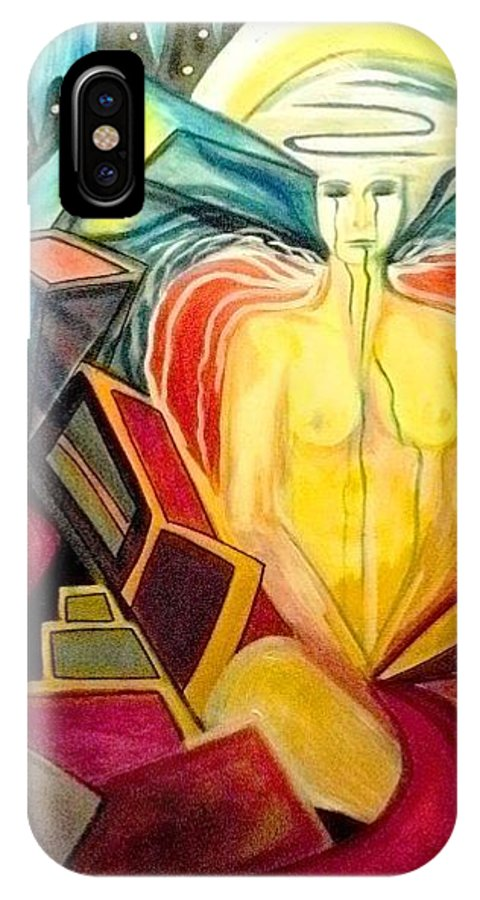 Angels IPhone X Case featuring the painting Weep For The Children by Carolyn LeGrand