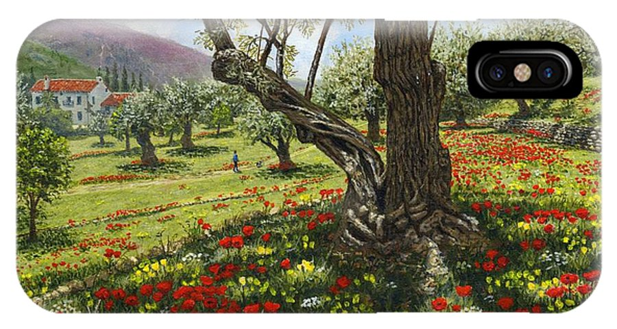 Andalucia IPhone X Case featuring the painting Andalucian Olive Grove by Richard Harpum
