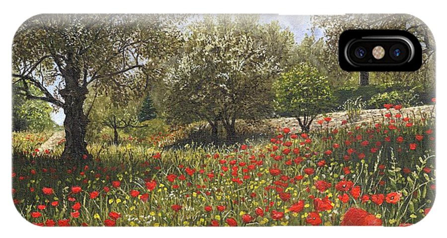 Landscape IPhone X Case featuring the painting Andalucian Poppies by Richard Harpum