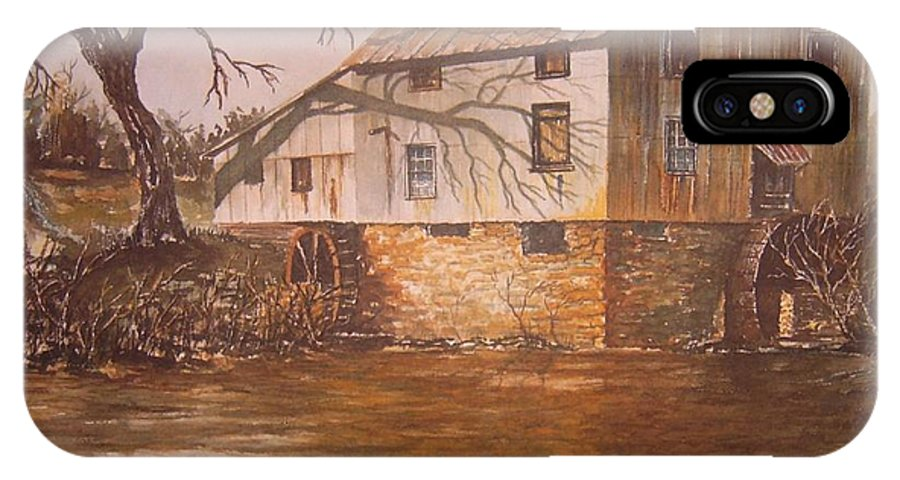 Landscape IPhone X Case featuring the painting Anderson Mill by Ben Kiger