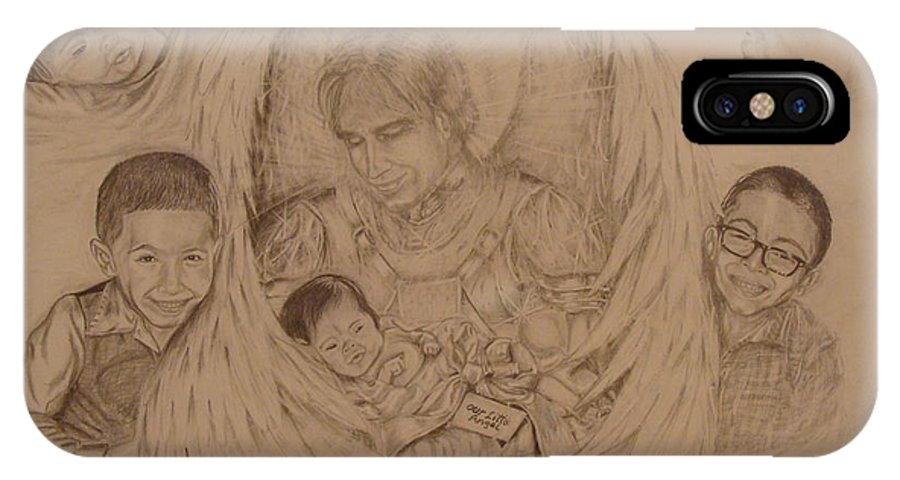 Angel IPhone X Case featuring the drawing Angel Baby by Fabio Cedeno