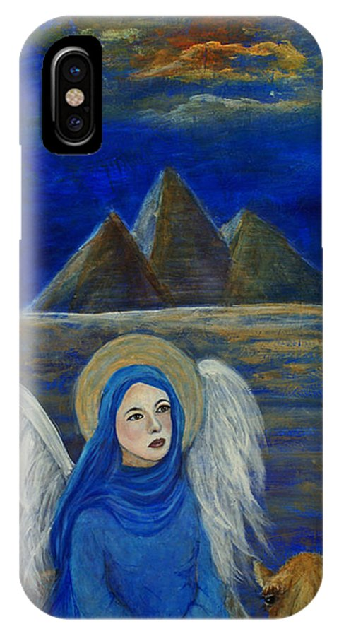 Egypt IPhone X / XS Case featuring the painting Angel From Eygpt Called Lapis Lazueli by The Art With A Heart By Charlotte Phillips