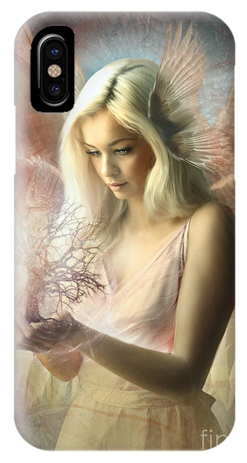 Digital Art IPhone X Case featuring the digital art Angel Jehoel by Babette Van den Berg