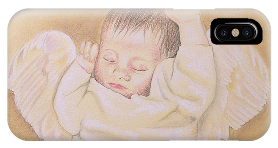 Angel IPhone X Case featuring the drawing Angel by Kathy Weidner