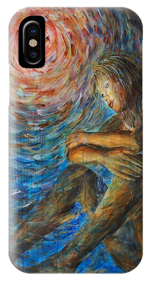 Angel IPhone X Case featuring the painting Angel Moon I by Nik Helbig