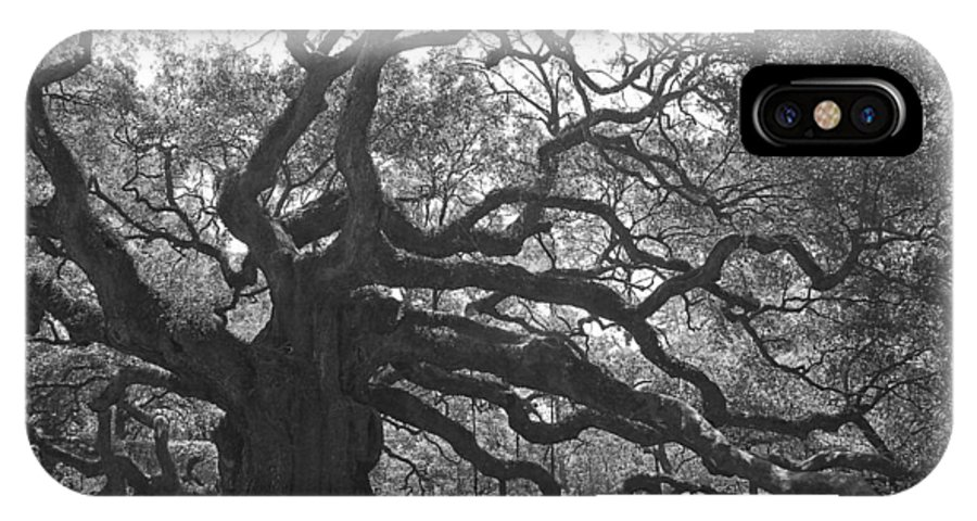 Black And White IPhone X Case featuring the photograph Angel Oak II - Black and White by Suzanne Gaff